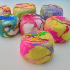 When wet, the soap lathers up and the wool gently exfoliates your skin. As you use the soap, the wool keeps shrinking around the soap and when the soap is gone, you are left with a tiny felted pouch that can be used as a scrubby, or cut open to store little treasures. MEMBER - EngelFelt