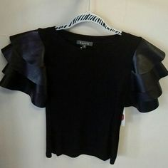 Noir Ruffles Black tee with faux leather ruffle sleeves Gracia Tops Blouses