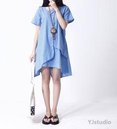 Cotton Dress, Blue dress, Red Dress, Green Dress, Short sleeve , Round Neck, loose fitting dress, spring dress, Linen Dress, maxi, Boho