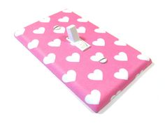 White and Pink Hearts Light Switch Cover Girls Bedroom Decor Switchplate Outlet Rocker Switch Plate