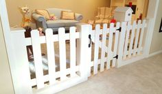 Baby Gate Playroom Picket Fence Room Divider by SpeckCustomWoodwork on Etsy https://www.etsy.com/listing/262379148/baby-gate-playroom-picket-fence-room