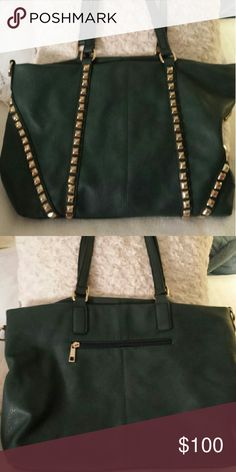 MMS GREEN TOTE WITH GOLD STUDS MMS Green large handbag with gold studs.   Looks New! MMS Bags