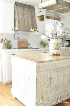 Shabby Chic Wood Kitchen Island.