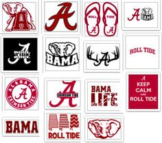 University of Alabama Crimson Roll Tide Bama Decal Lot SVG Cut Files Instant Download