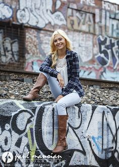 Senior pictures pose ideas for girls with graffiti - sitting on a wall - Best Graffiti Senior Pictures - Detroit Photographers