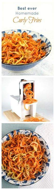 Super easy and totally delicious healthy spiralized curly fries recipe from Eats Amazing UK