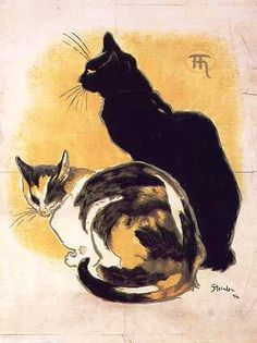 Two Cats Postcard, 1890's, by Theophile Alexandre Steinlen