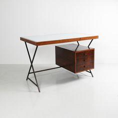 Lina Bo Bardi; Cabreuva, Metal and Glass Desk for Studio De Arte Palma, c1949.