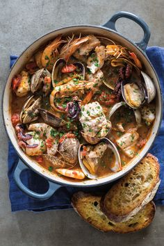 Almost every coastal town in Italy has its own version of seafood stew, typically made with whatever is left over at the fish market that day. We like to serve Livorno fish stew recipe with the traditional accompaniments of bruschetta and a green salad. Fish Recipes, Seafood Recipes, Cooking Recipes, Healthy Recipes, Cooking Fish, Skillet Recipes, Cooking Tools, Recipes Dinner, Fish Dishes