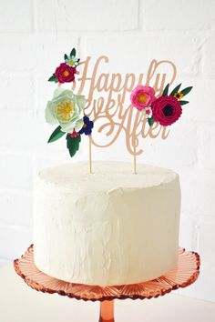 Handmade 'Happily Ever After' Paper Flower Cake Topper