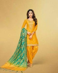 Fashion Ilustration Indian Anarkali Suits Ideas For 2019 Patiala Dress, Patiala Salwar Suits, Patiala Suit Designs, Indian Salwar Kameez, Punjabi Suits, Indian Anarkali, Yellow Punjabi Suit, Designer Salwar Kameez, Kurta Lehenga