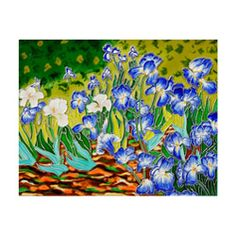 The epitome of gorgeous color, this hand-carved and hand-painted decorative tile features a beautiful replication of Vincent Van Gogh's 'Irises'. This ceramic tile is the perfect way to add style and