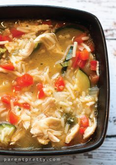 Try this twist on the classic chicken and rice vegetable soup recipe.
