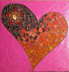 Pink and Orange Wild Heart 10x10 by JennyWrenMosaics on Etsy