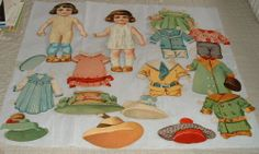2 Early German Paper Dolls With Clothing & Hats