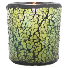 Mosaic glass votive holder.   Product: Votive holderConstruction Material: GlassColor: Olive