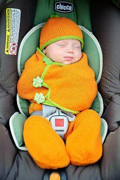 Cozy pumpkin in a pumpkin seat!