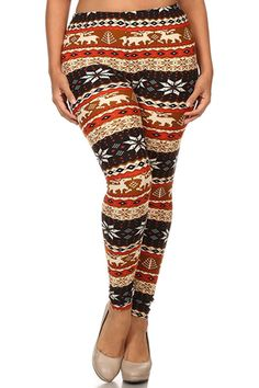 Moose and Mistletoe Design Plus Size Leggings