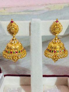 Gold Ring Designs, Gold Bangles Design, Gold Earrings Designs, Gold Jewellery Design, Gold Jhumka Earrings, Gold Bridal Earrings, Gold Temple Jewellery, Gold Jewelry, Gold Buttalu