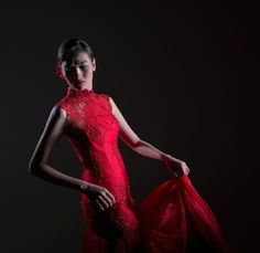 Red Cheongsam Evening Gown
