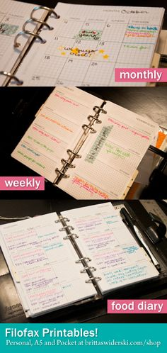 Filofax love - Weekly, Monthly and Food Diary Printables by Britta Swiderski