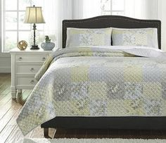 This Damani 3 Piece Quilt Set by Signature Design by Ashley is a quaint interpretation of the tried-and-true patchwork design. This set includes a cotton. King Quilt Sets, Queen Quilt, Patchwork Designs, Comforter Sets, Comforters, Quilts, Furniture, 3 Piece, Home Decor
