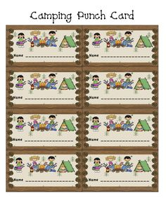 Ahh! Camping theme punch card! What a great idea!! :) Many many many more amazing printables on this site.