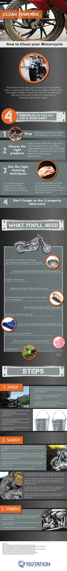 How to Clean your Motorcycle- Infographic  #clean #motorcycle #infographic…