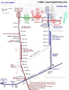Grand Funk Railroad, Train Map, Train Tracks, Warehouses, Locomotive, Charts, Trains, Maps, Brooklyn