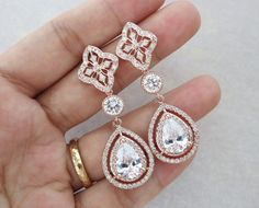 #Rose #gold plated round vintage style ear posts with a deluxe cubic zirconia teardrop. http://www.jangmijewelry.com/