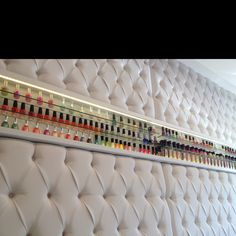 Would you have a cushioned display wall at home like here at A7 #Nail #Spa #Brazil?