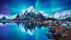 Wallpaper Adventure, Night Lights, Lofoten Islands, Snow Norway Wallpaper, Nature Desktop Wallpaper, Night Sky Wallpaper, Desktop Background Images, City Wallpaper, Desktop Wallpapers, Laptop Wallpaper, Backgrounds, Windows 10