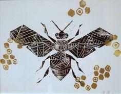 Bee geometric print by MAIDABYNINA
