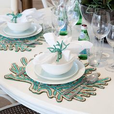 """Create a tropical, coastal style table with these stunning hand beaded placemats in aqua that are shaped like coral #alfrescoemporium #coastalcharm #coral"""