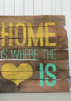 Change out your winter décor for some spring inspired projects – DIY Home is Where the Heart is Sign