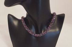 Necklace with violet crystal beads and sterling por SelwerJewelry