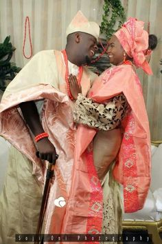 Beautiful Nigerian bride and groom love these outfits