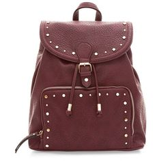 Burgundy Studded Soft Buckle Strap Backpack ($36) ❤ liked on Polyvore featuring bags, backpacks, burgundy, knapsack bags, vegan leather backpack, vegan backpack, vegan bags and buckle backpack