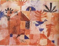 'Landscape with Bluebirds' 1919 Paul Klee. Gouache on paper 19 x in x cm) Philadelphia Museum of Art. Joan Miro Paintings, Famous Artists Paintings, Indian Paintings, Oil Paintings, August Macke, Wassily Kandinsky, Rembrandt, Franz Marc, Gouache