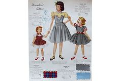 Double-sided vintage 1950s fashion illustration print for Frocks by Harford with attached fabric samples. Unframed.