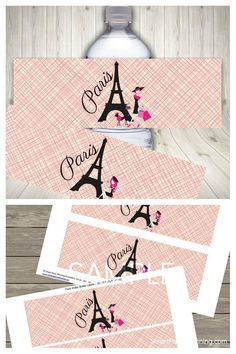 Instantly download these Paris themed water bottle labels. Perfect for a tween birthday party or a bridal shower. The labels will help with instant party decor and creating a fun Parisian feel. Other matching party printables also available.