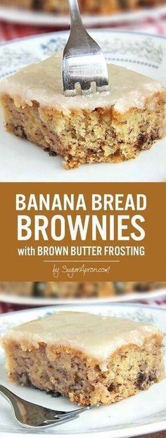 Banana Bread Brownies Banana Bread Brownies The world needs to know. The sweet taste of banana bread brownies topped with a brown butter frosting. – 15 Unique Thanksgiving Dessert Recipes: Happy Home Banana Dessert Recipes, Healthy Dessert Recipes, Brownie Recipes, Cake Recipes, Unique Banana Bread Recipe, Desserts With Bananas, Sweets Recipes, Recipes Dinner, Bread Recipes