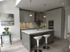 Planet Furniture Beautiful Storm Grey Shaker Kitchen Farrow And Ball Paint Mole Breath The Island Pavilion Cupboards Not Enough Contrast Wood Wall Colors With Cream Cabinets Grey Shaker Kitchen, Grey Kitchen Floor, Classic Kitchen, Grey Kitchen Cabinets, Kitchen Flooring, Cupboards, Gray Floor, White Cabinets, Kitchen Island