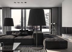 q-house interior design by Mateusz Kuo Stolarski, via Behance Dark Living Rooms, Home And Living, Living Spaces, Home And Family, Dark Rooms, Living Area, Modern Interior Design, Interior Architecture, Interior Ideas