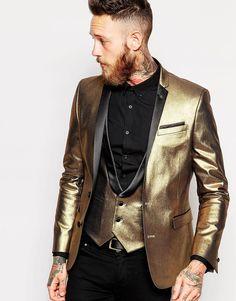 Asos Super Skinny Blazer In Gold Velvet in Gold for Men   Lyst