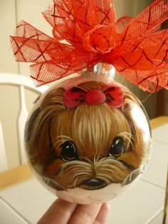 Handpainted Yorkie Christmas Ornament Ball Home Decoration Dog Misspaintsalot