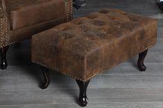 Hocker Fußhocker CHESTERFIELD braun antik look Design Sitzhocker England Look