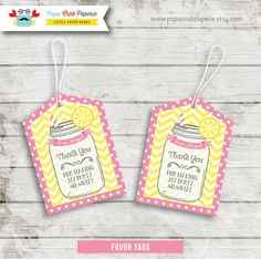 Personalized Pink Lemonade Favor Tags / Gift Tags / DIY Party Printables / First Brithday (SBI07)