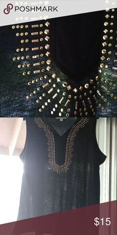 d4e0c56f4716dc Womens bedazzled sleeveless top Gold studded neckline black sleeveless top