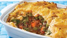 This classic English staple, which is often loaded with calories, fat and sodium, gets a makeover by swapping out the ground beef for protein-rich lentils and tasty broccoli. Like all legumes, lentils are high in protein and fiber. The insoluble fiber found in lentils improves digestion, therefore helping to reduce the risk for diverticulosis, a common digestive disorder in elderly people. The soluble fiber found in lentils helps trap bile and carry it through the digestive tract. Plus…